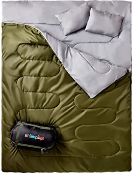 Sleepingo Double Sleeping Bag for Backpacking, Camping, Or Hiking, Queen Size XL! Cold Weather 2 Person Waterproof Sl...