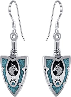 Sponsored Ad - Arrowhead Turquoise Gemstone Wolf with Paw Southwestern Style Sterling Silver Drop Earrings