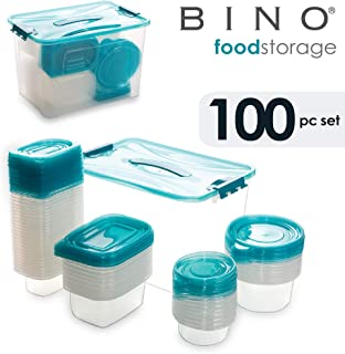 BINO 100-Piece Reusable Plastic Food Storage Container Variety Set with Lids, Light Blue