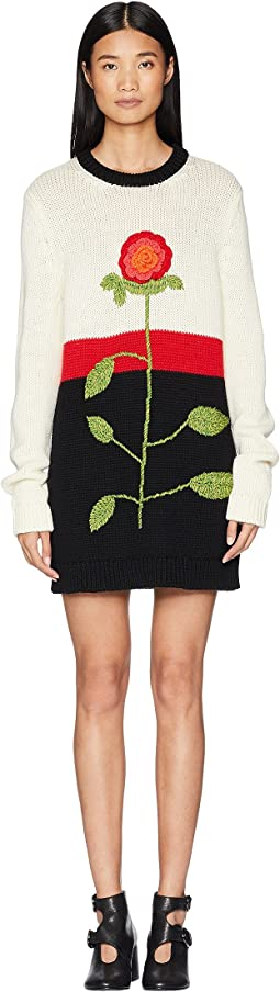 Wool Yarn, Color Blocks and Hand Stiched Flower Embroidery Sweater Dress
