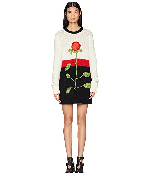 RED VALENTINO Wool Yarn, Color Blocks and Hand Stitched Flower Embroidery Sweater Dress