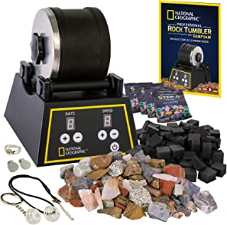 NATIONAL GEOGRAPHIC Professional Rock Tumbler Kit- Advanced features include Shutoff Timer and Speed Control - 907 Gram Ba...