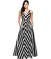 Halston Heritage - Sleeveless V-Neck Striped Jacquard Gown
