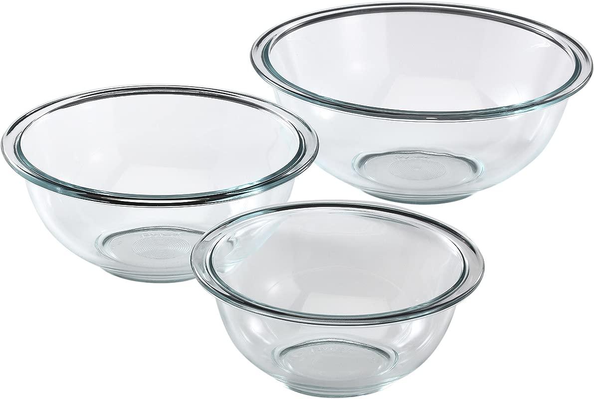 Pyrex Glass Mixing Bowl Set 3 Piece