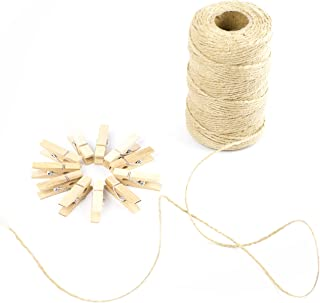 Horizon Homestead Jute Twine 328 Feet, 2mm Thick, 3 Ply Jute Twine with 100 Wooden Mini Clothespins. Twine String and Clips for Crafts, Weddings, and Anniversaries. Perfect for Arts and Crafts!
