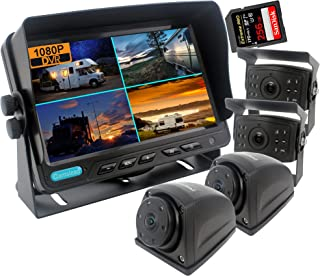 CAMSLEAD 1080P Car Backup Camera System 9 inch Monitor Built-in DVR Recorder with Quad Split Screen High Hardness 10G Vibr... photo