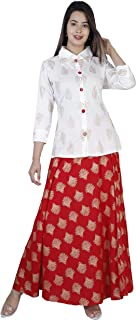 Dee Desi Women's Gold Printed Rayon Short Shirt & Skirt Set