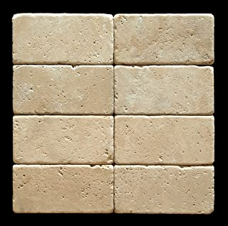 Ivory (Light) Travertine 3 X 6 Subway Field Tile, Tumbled