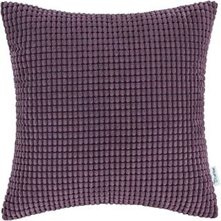 CaliTime Cozy Throw Pillow Cover Case for Couch Sofa Bed Comfortable Supersoft Corduroy Corn Striped Both Sides 18 X 18 Inches Deep Purple