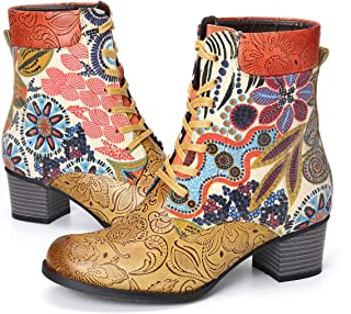 gracosy Ankle Boots Women Flat Leather Boots Printing Retro