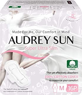 AUDREY SUN All Natural Cotton Pads for Women and Panty Liners - 100% Chemical-Free Cotton - Medium - 32 Count (Packaging May Vary) - Made in Korea