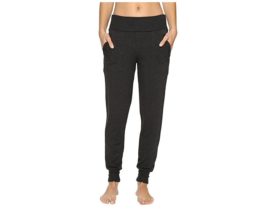 Beyond Yoga Fleece Fold-Over Sweatpants (Charcoal Heather Gray) Women