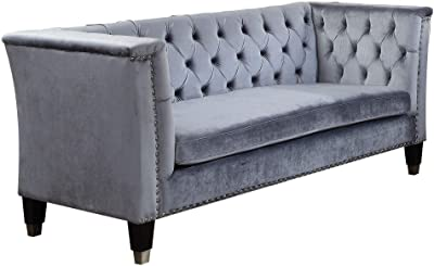 Benjara Upholstered Loveseat with Button Tufting and High Shelter Armrests, Gray