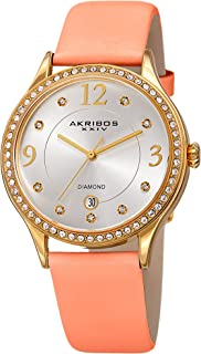 Akribos XXIV Women's Quartz Diamond & Swarovski Crystal Gold-Tone and Pink Leather Strap Watch - AK1011PK