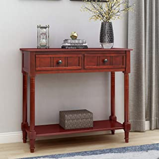 P PURLOVE Console Table Entry Table Wooden Sofa Table with 2 Drawers and Bottom Shelf (Dark Cherry)