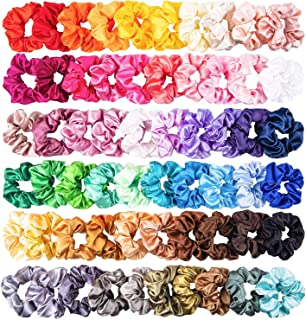 WATINC 60Pcs Colorful Silk Satin Scrunchy Set Strong Elastic Bobble Hair Bands for Ponytail Holder Solid Color Traceless Hair Rope Accessory