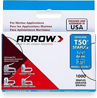 Arrow Fastener 504M1 Genuine T50 1/4-Inch Monel Rust Proof Staples, 1,000-Pack