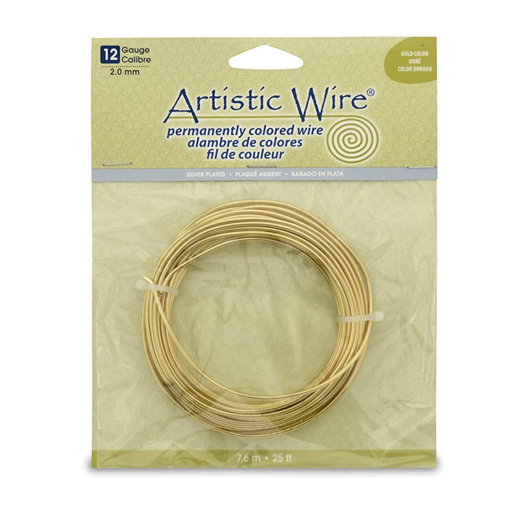 Artistic Wire 12S Gauge Wire, Gold Color, 25-Feet