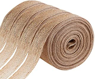 Faxco 4 Rolls 1 inches Natural Burlap Ribbons, Burlap Fabric Roll, Burlap Wired Ribbon, Burlap Spool for Party Decoration,...