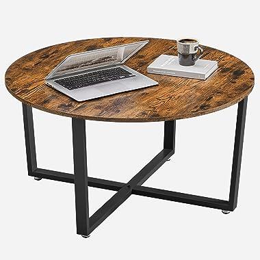 VASAGLE Table Basse Ronde, Table de Salon, Style Industriel, Cadre en Acier, Montage Facile, pour Salon, Chambre, Marron Rust