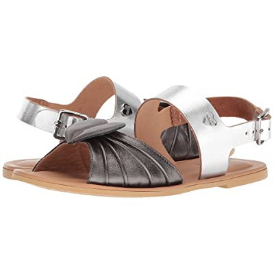 LOVE Moschino Leather Sandals w/ Tone on Tone Accessories (Black/Silver) Women