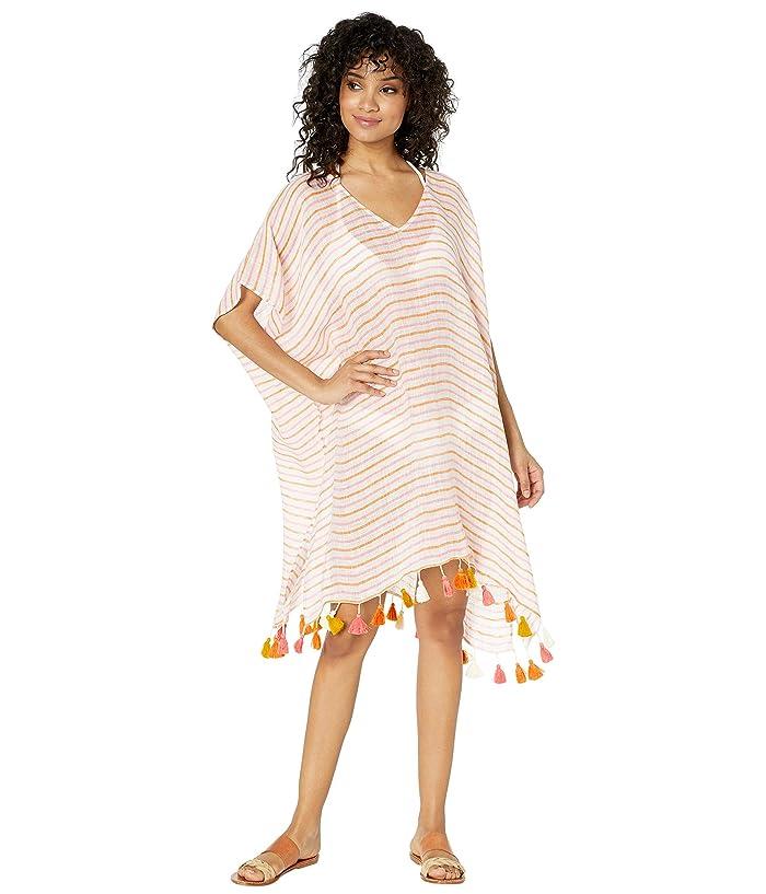 Seafolly Bali Hai Linen Stripe Kaftan Cover-Up (Inka Pink) Women