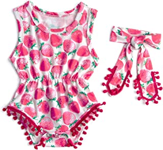 a68e5f156bd Leapparel Newborn Toddler Baby Girl Floral Sleeveless Bodysuit Romper Jumpsuit  Outfit Set Casual Clothes with Headband