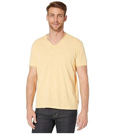 John Varvatos Star U.S.A. Miles Short Sleeve Slub V-Neck w/ Cut Raw Edge (Orange Sherbert) Men