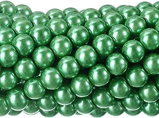 RUBYCA 200Pcs Czech Tiny Satin Luster Glass Pearl Round Beads Beading Jewelry Making 6mm Green