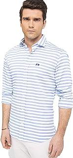 – Camisa Genova 2 Regular Fit Rayas Vertical Azul, 100% Algodón, Estilo Informal, para Hombre