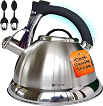 Whistling Tea Kettle with iCool – Handle, Surgical Stainless Steel Teapot for ALL..