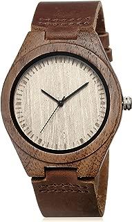 Men's Walnut Wood Cowhide Leather Strap Watch Wooden Case Analog Quartz Wristwatch