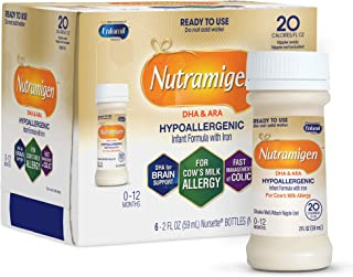 Enfamil Nutramigen Hypoallergenic Ready to Feed Colic Baby Formula Lactose Free Milk, 2 fluid ounce (6 count) - Omega 3 DHA, Probiotics, Iron, Immune Support