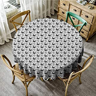 DONEECKL Dust-Proof Tablecloth Moon Crescent Moon Pattern with Flying Swallow Birds and Stars Cosmic Boho Gypsy Pattern Great for Buffet Table D35 Black White