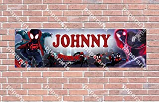 Spiderman Into The SpiderVerse Movie - Personalized Birthday Name Poster with Custom Name On it, Border Mat and Frame Options