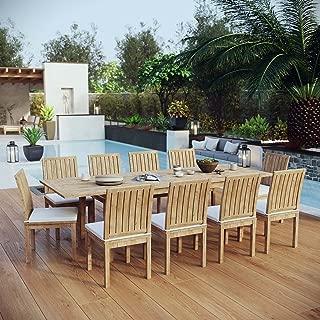 Modway EEI-3282-NAT-WHI-SET Marina Premium Grade A Teak Wood Outdoor Patio Dining Furniture Set, 11 Piece, Natural White