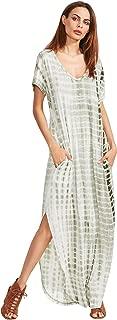 Casual Maxi Short Sleeve Split Tie Dye Long Dress