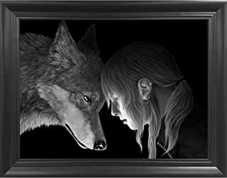 Wolf Connection 3D Poster Wall Art Decor Framed Print | 14.5x18.5 | Lenticular Posters & Pictures | Memorabilia Gifts for Guys & Girls Bedroom | Cool Artwork and Native American Animal Decorations