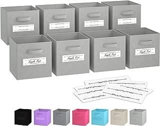 Royexe - Storage Cubes - (Set of 8) Storage Baskets | Features Dual Handles & 10 Window Cards | Cube Storage Bins | Foldable Fabric Closet Shelf Organizer | Drawer Organizers and Storage (Light Grey)