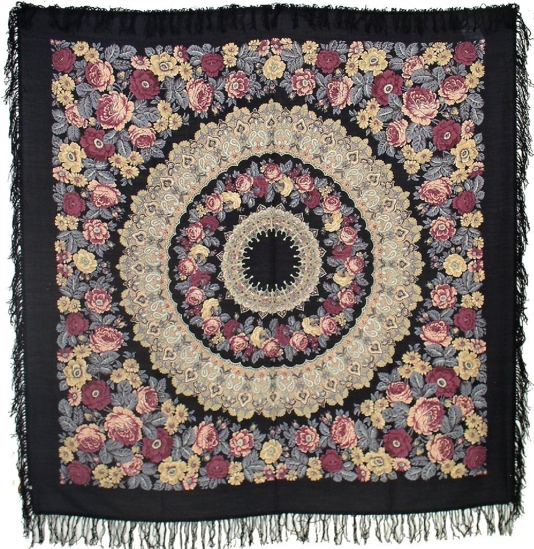 Pavlovo Posad Black Shawl Scarf Wrap Pashmina 100% Wool 57x57''