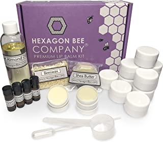 Premium Lip Balm Kit - Beeswax and Shea Butter Moisturizers - DIY Kit Makes 12 Balms with 4 Unique Flavors