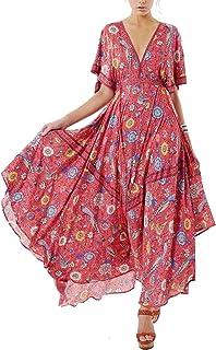 862a5a55ee6 R.Vivimos Women Summer Print Deep V Neck Cotton Beach Long Dresses