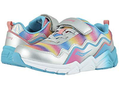 Saucony Kids S-Flash A/C 2.0 (Little Kid/Big Kid) (Silver Multi Leather/Mesh) Girls Shoes