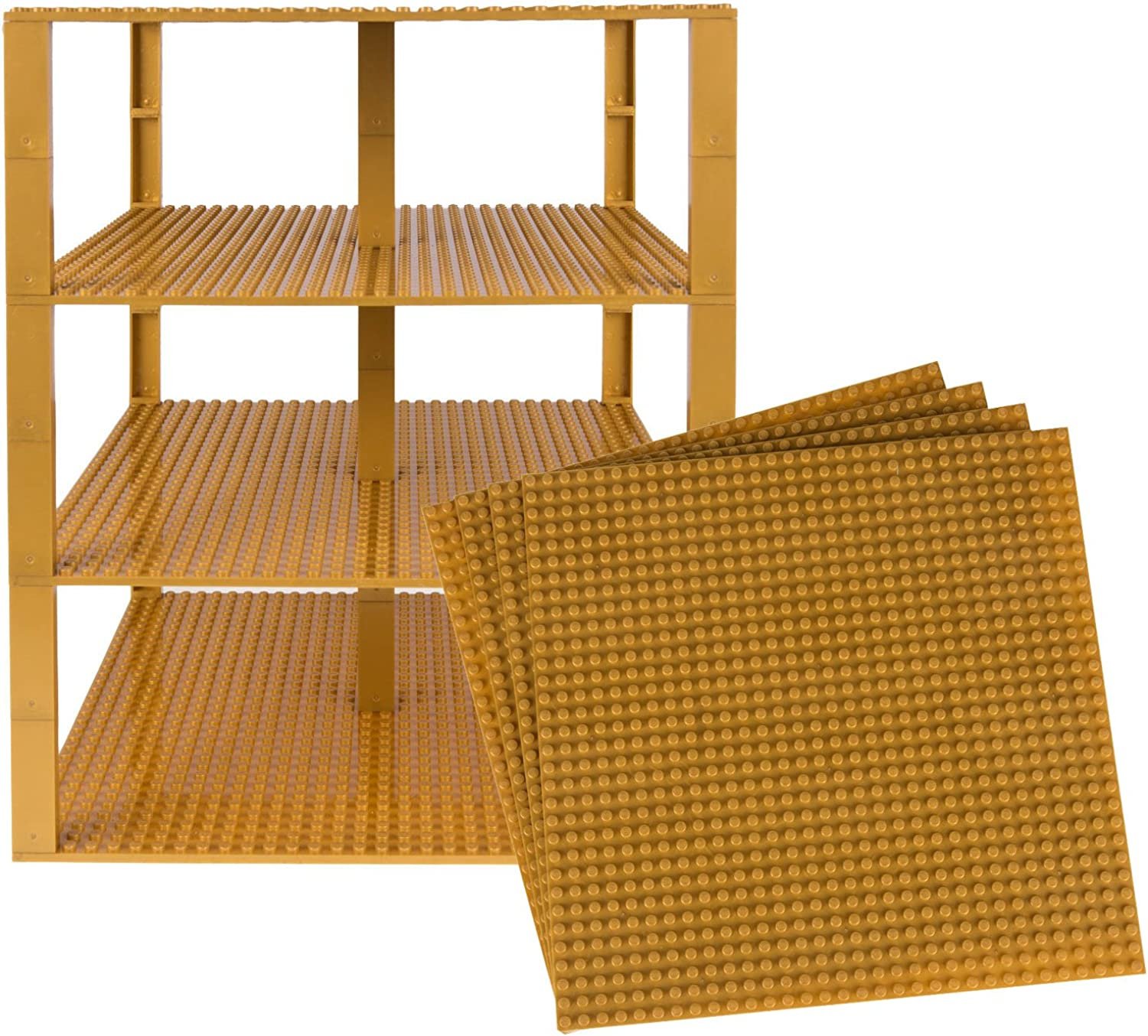 Classic Baseplates 10  x 10  Brik Tower by Strictly Briks   100% Compatible with All Major Brands   Building Bricks for Towers and More   4 gold Stackable Base Plates & 30 Stackers