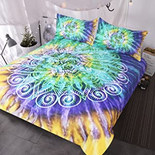 BlessLiving Lotus Flower Tie Dye Bedding 3 Piece Bohemian Mandala Duvet Cover Yellow Purple Green Tye Dye Bedding Sets (Queen)