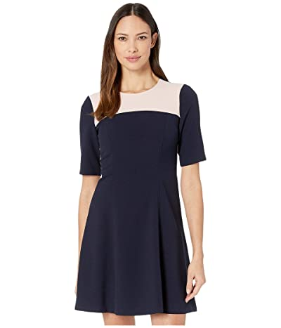Vince Camuto Kors Crepe Elbow Sleeve Color-Block Fit-and-Flare Dress w/ Topstitch Detail (Navy Multi) Women