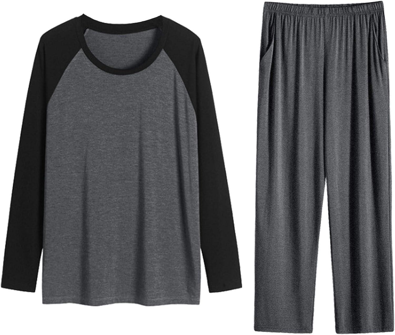 Lars Amadeus Men's Cotton Raglan Long Sleeves Top Bottom Sleep Lounge Pajama Sets