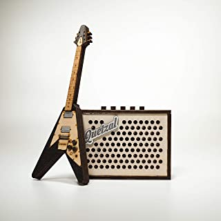 Mini Flying V Guitar and Amplifier - USB Music Box plays your mp3 / personal recording. Perfect gift for music lovers.