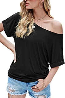 Drop Tail Slounge T-Shirt Top I Love The 80s Print Ladies Off Shoulder Tee