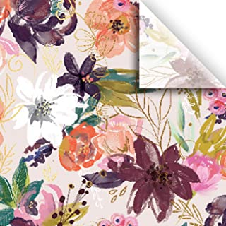 **SALE** Large sheets approx 50 Sheets of Black Floral Design on White Tissue Paper #347  Gift Paper .. 20 x 30